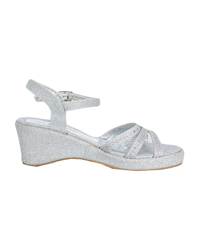 ea5fdafb6acb Click to enlarge. HomeAccessoriesShoes Silver Pretty Glitter Kids Wedge  Heels ...